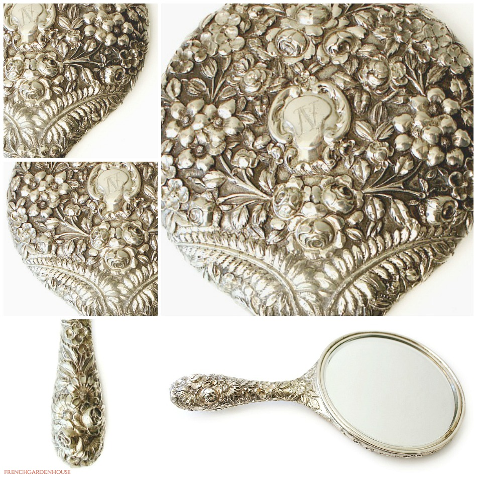 Antique Sterling Silver Hand Mirror Repouse Flowers N