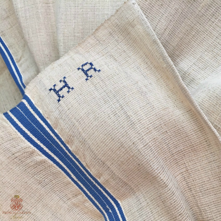 Antique French Linen Towel Blue Stripe Monogram H R