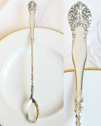 Antique Silver Long Twisted Olive Spoon