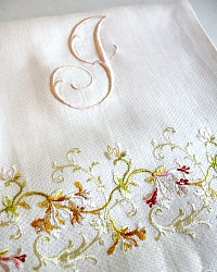 Antique Society Silk Embroidered Monogram J Towel