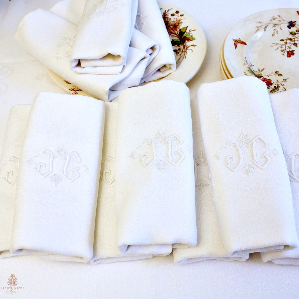 Antique French Damask Linen Napkins Monogram JG Set of 12