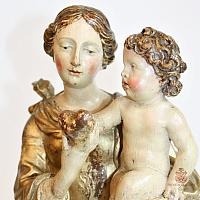 17th Century Venetian Gilded Wood Madonna and Child