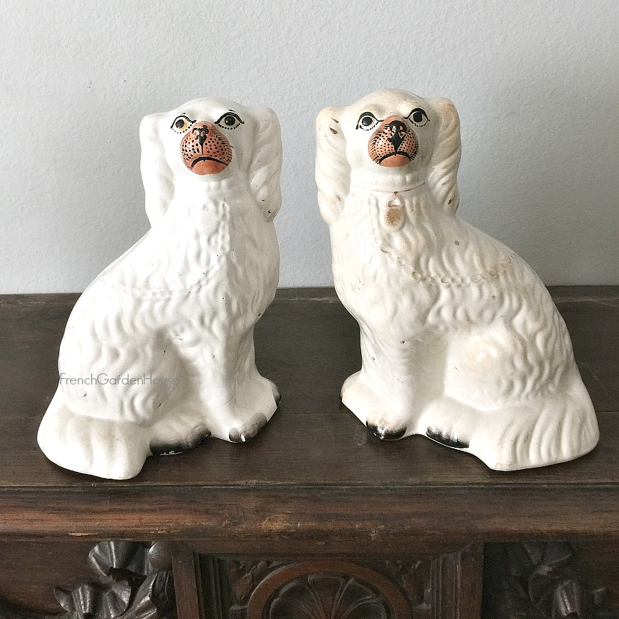 19th Century English Staffordshire Pearlware Pottery Spaniel Dogs