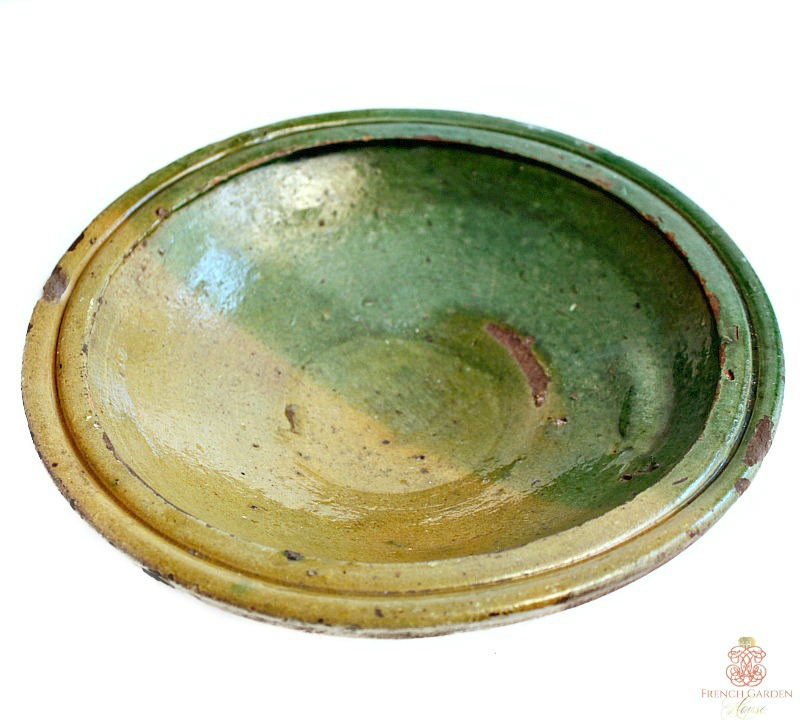 Antique French Provencial Preserving Bowl Yellow Green