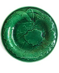 19th Century English Victorian Green Leaf Majolica Plate I