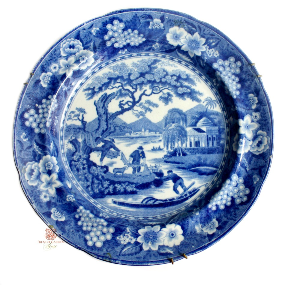 Early 19th Century Blue and White Transfer Printed Plate Sheep