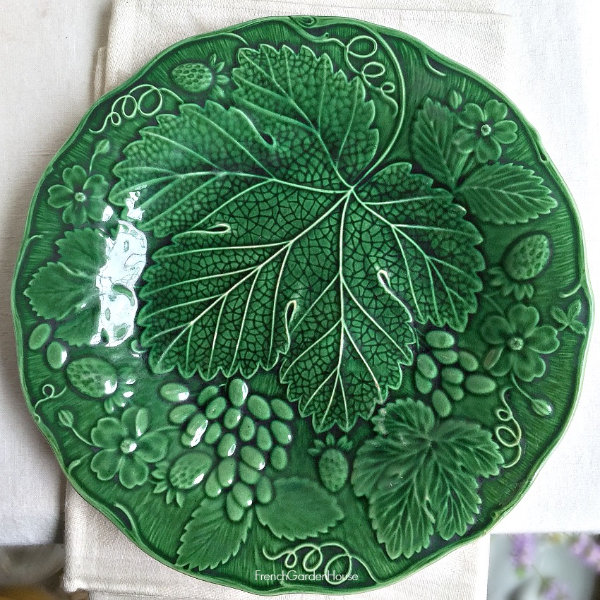 Antique 1800's Green Majolica Plate Strawberries and Flowers