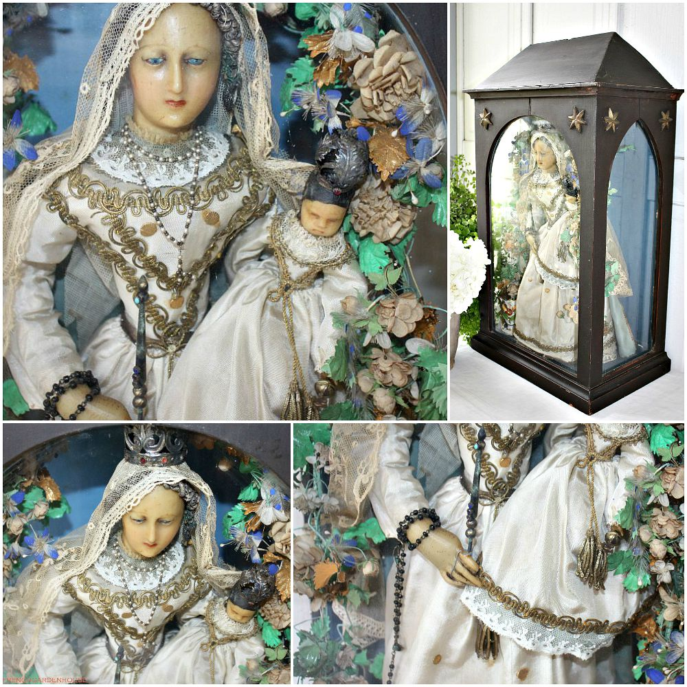 19th Century French Wax Madonna & Child Religious Shrine Display