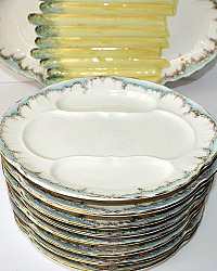 19th Century Asparagus Set Gilt Turquoise Plates and Master Platter Set