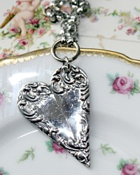 Silver Scrolled Heart Charm Necklace