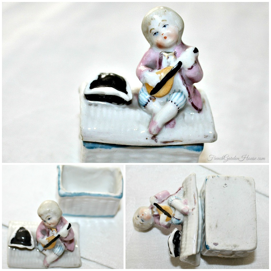 Antique French Hand Painted Miniature Porcelain Box Musician