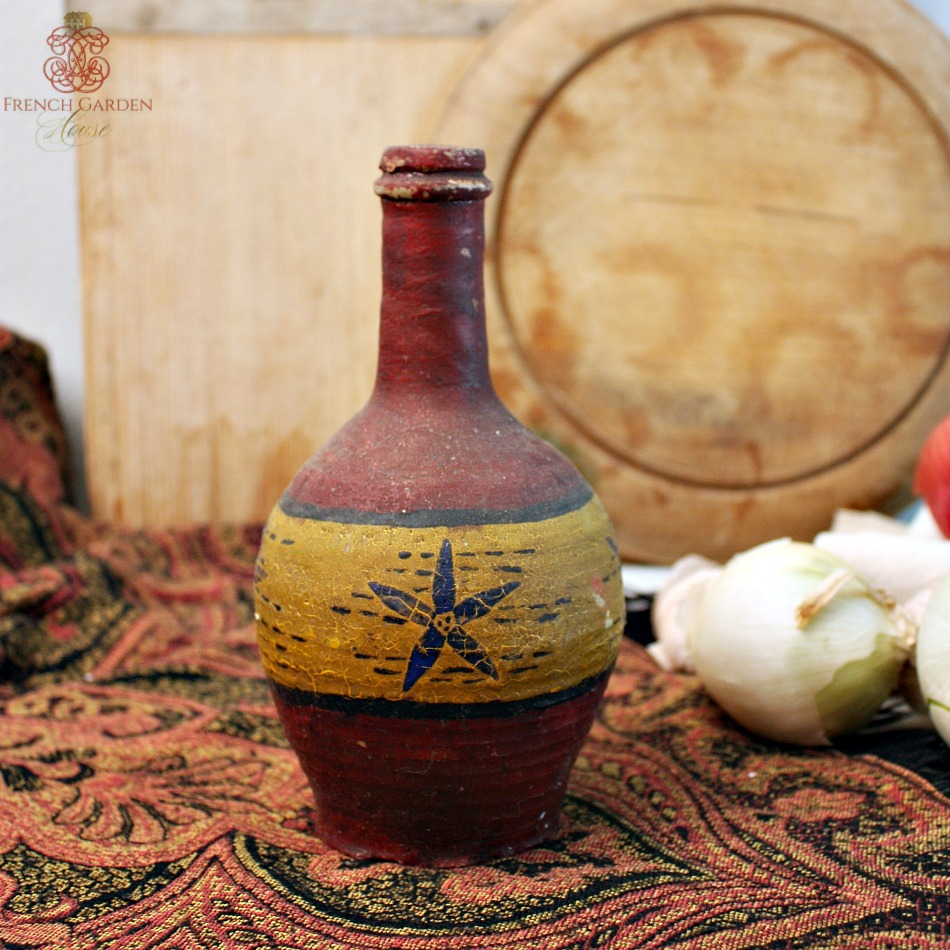 Antique French Hand Painted Stoneware Wine Bottle Rouge