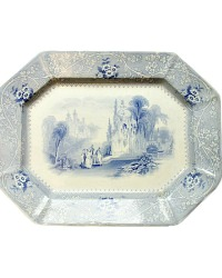 19th Century English Blue and White Ironstone Platter