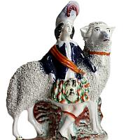 Early Antique Staffordshire Royal Children with Sheep