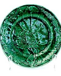 19th Century Majolica Green Vine Leaf Plate Davenport