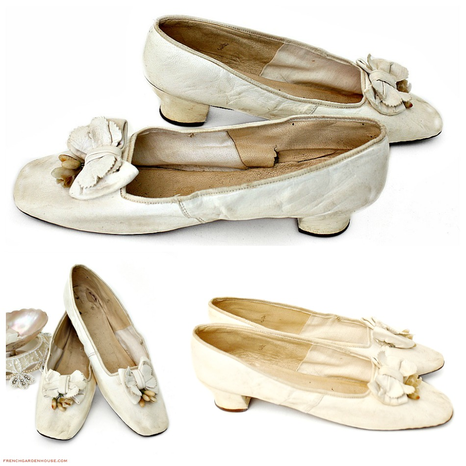 Antique French Victorian White Kid Leather & Wax Flowers Wedding Shoes 1850