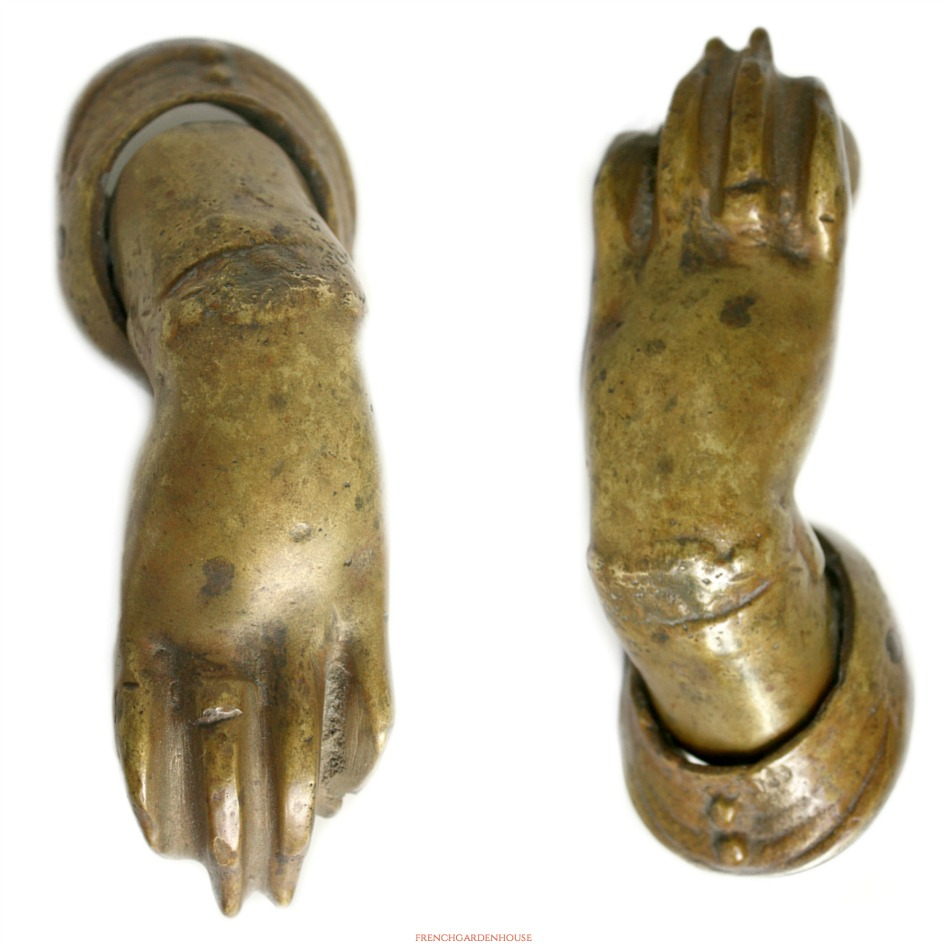 19th Century Bronzed Cast Iron Door Knocker Hand