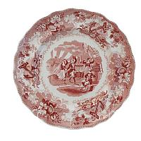 Exceptional 18th Century Staffordshire Soft Paste Red & White Plate
