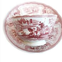Exceptional Antique Staffordshire Soft Paste Tea Bowl and Saucer Set of 4