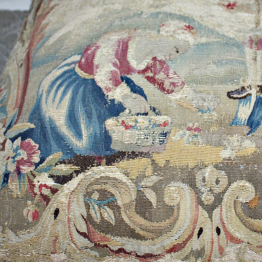 Antique French Aubusson Pillow Verdure Tapestry Cushion