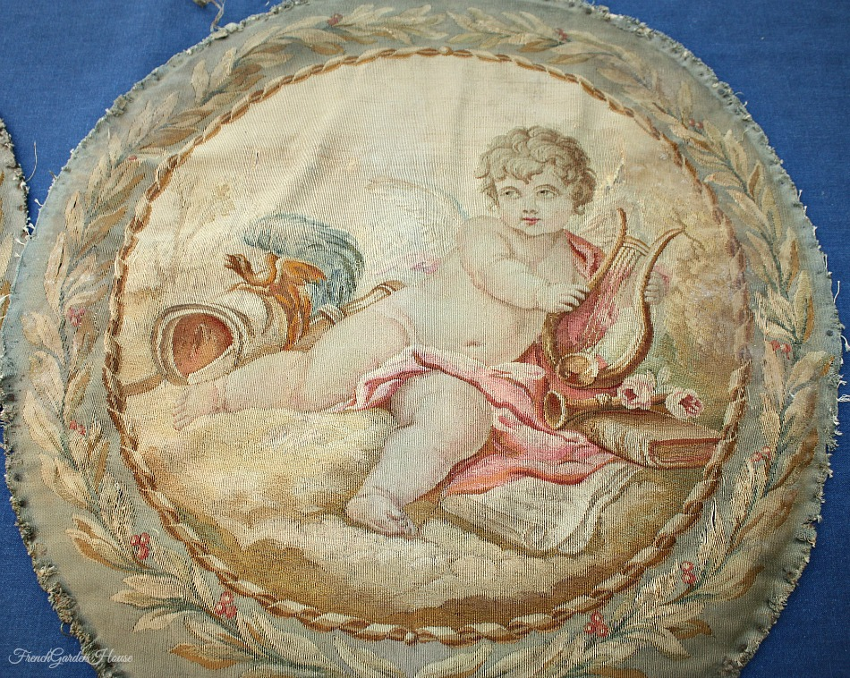 Pair of Antique French Aubusson Pillow Covers Cherub & Roses