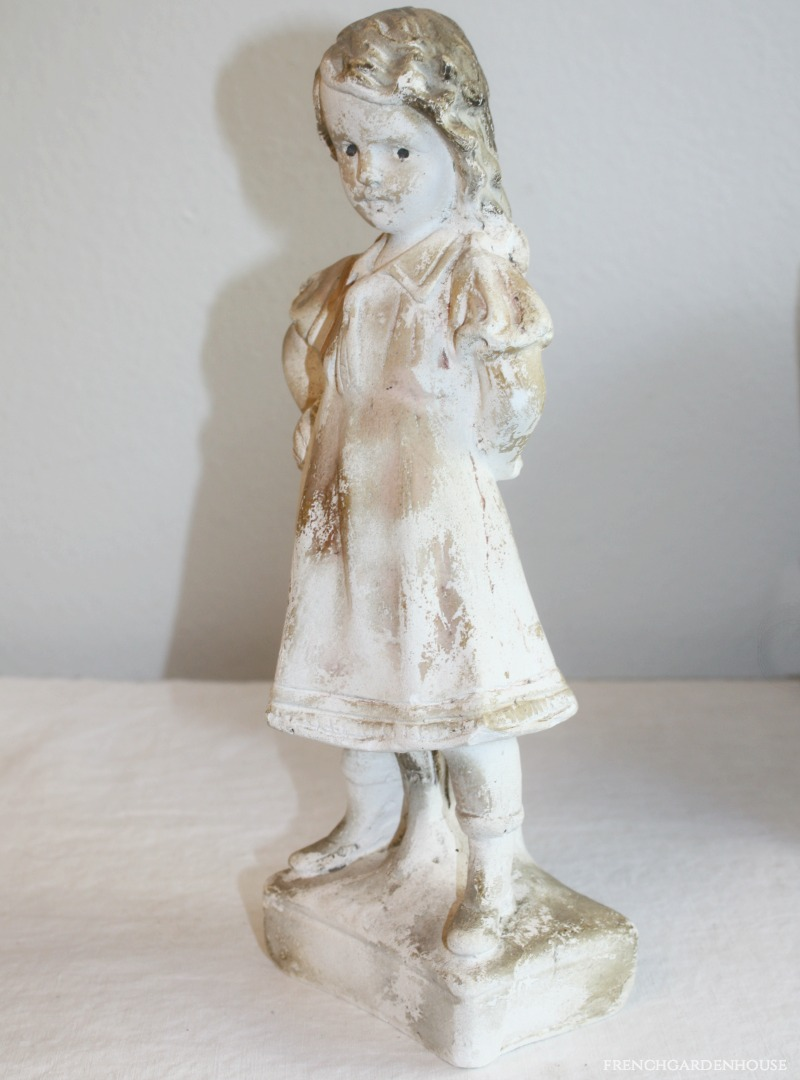 Vintage Shabby French Plaster of Paris Sculpture of a Sassy Girl