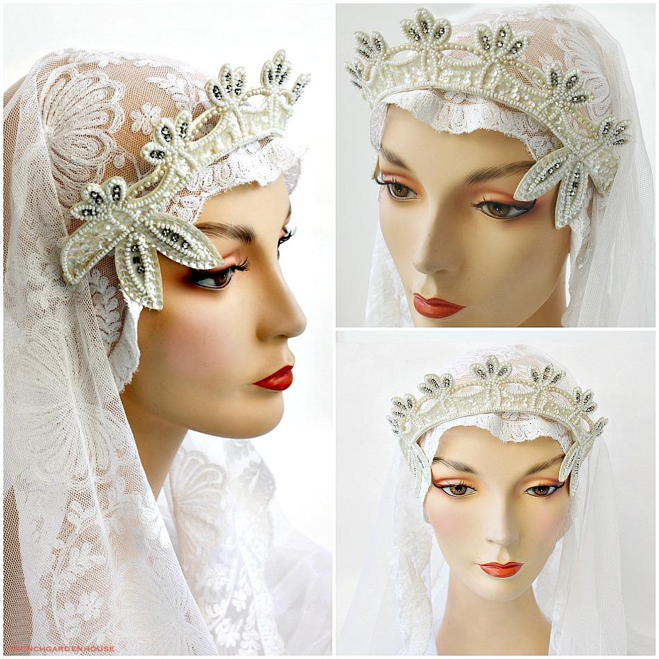 Vintage Wedding Beaded And Rhinestone Tiara Headpiece