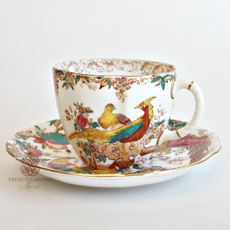 Vintage Royal Crown Derby Tea Cup and Saucer Set Birds
