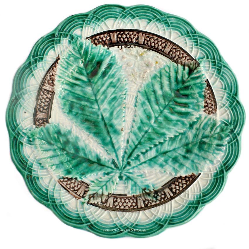 19th Century Majolica Plate Horsechestnut Leaf Design