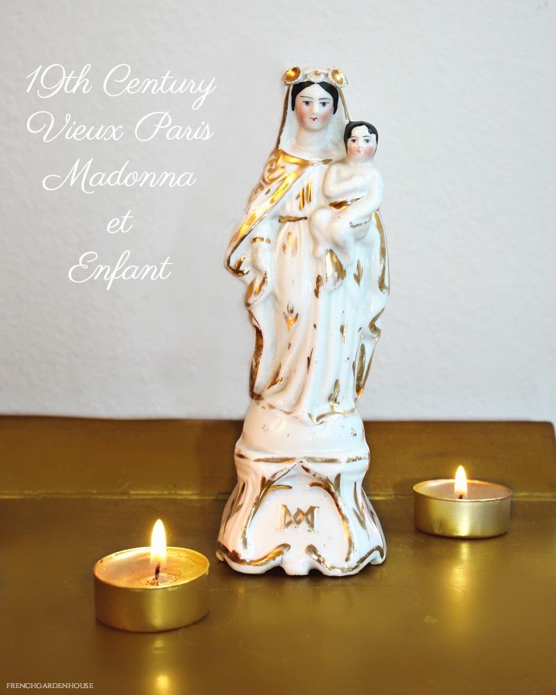 Antique Mid 1800's Old Paris Porcelain Madonna & Child Statue I