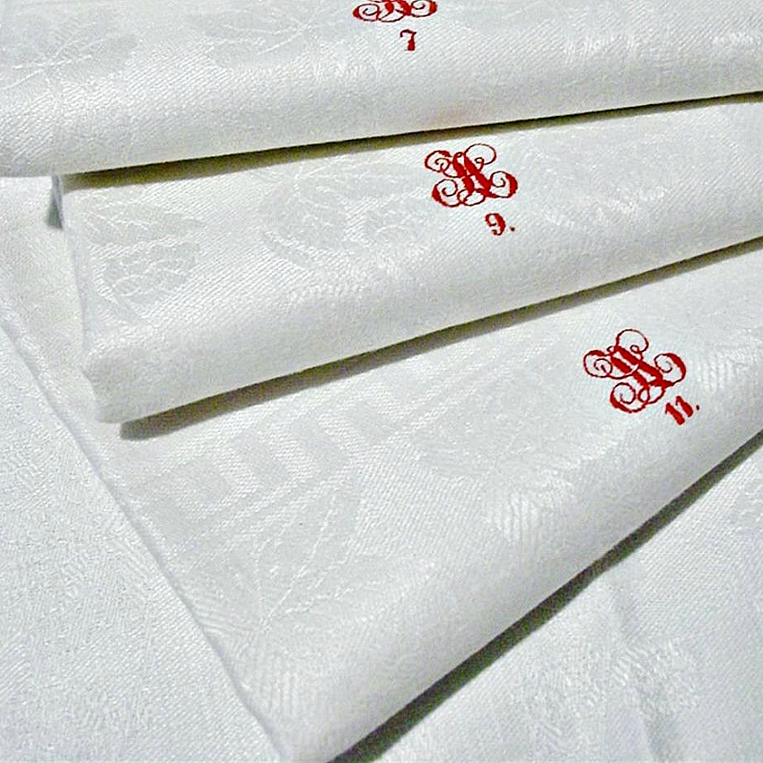 19th Century Linen Towels with Red Hand Embroidered Monogram