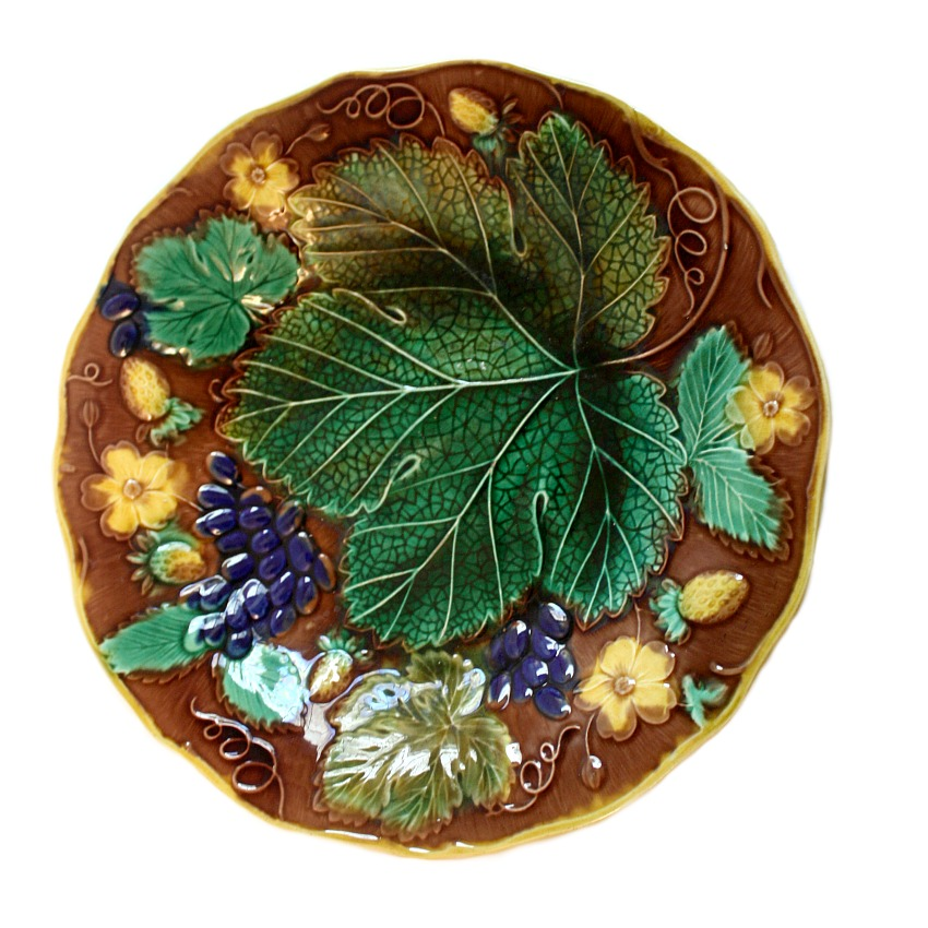 19th Century Majolica Grape Leaf and Strawberry Plate