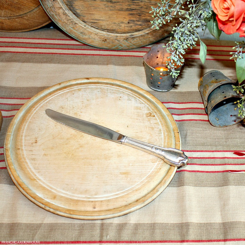 Antique Country Round Hand Carved Bread Board