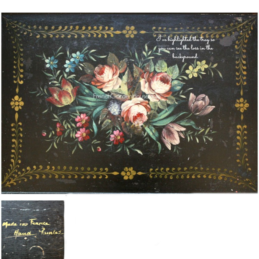 Antique French Tole Peinte Tray Black Floral