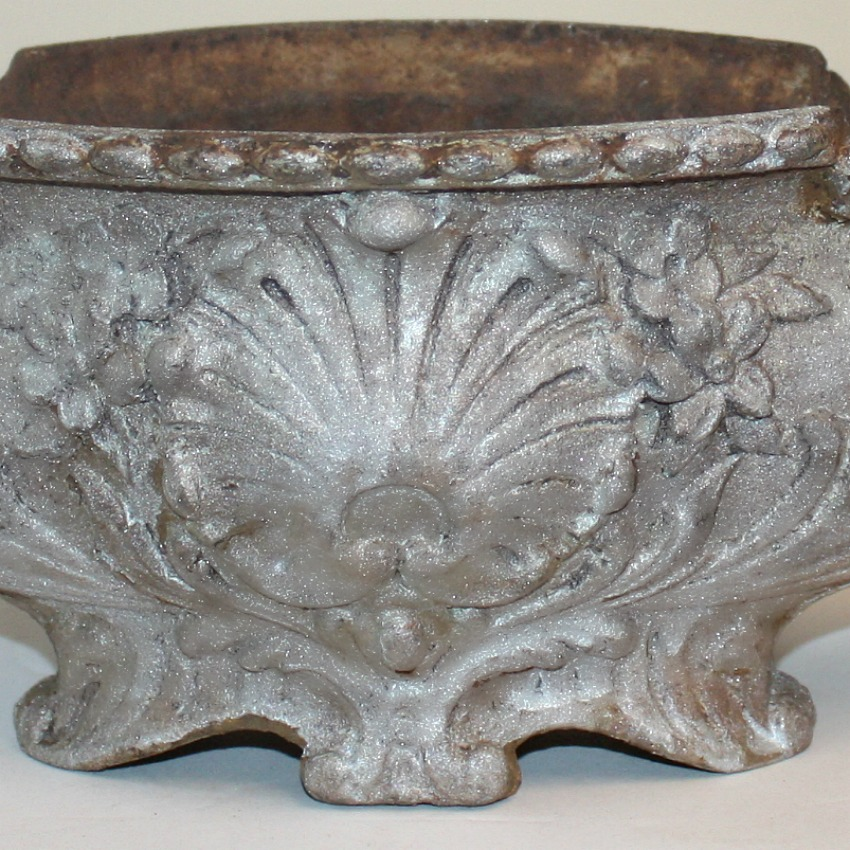 Antique French Rococo Revival Cast Iron Jardiniere Silver Large