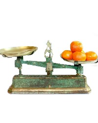 Antique French Balance Scale Patina Green & Gilt