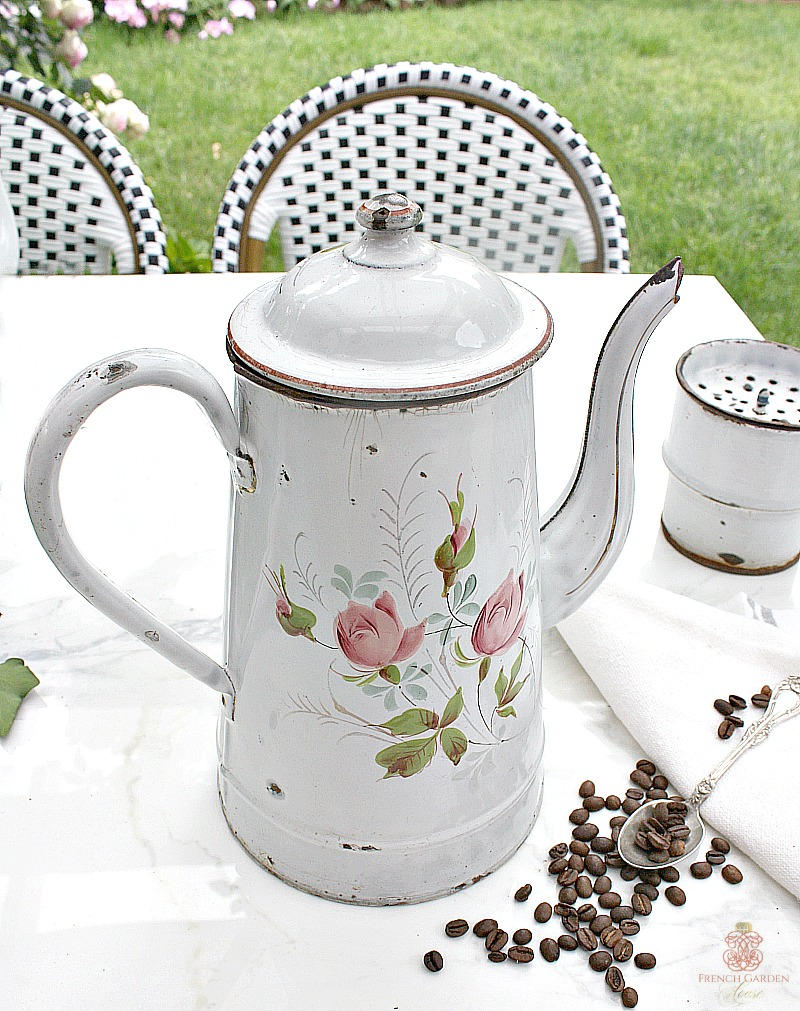 Antique 19th Century French Enameled Pink Roses Biggin Cafetiere