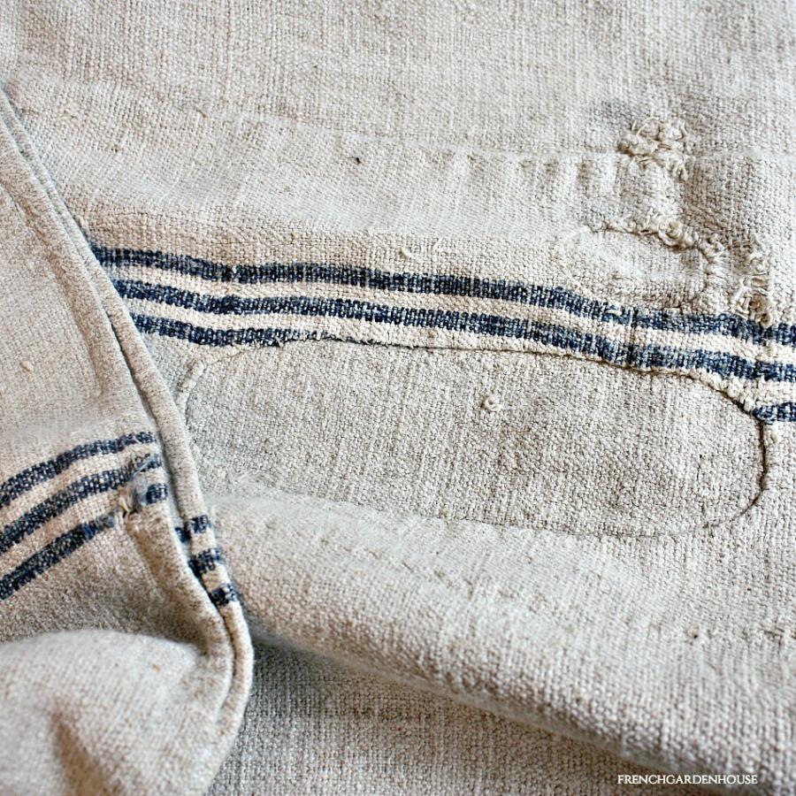 Antique French Hand Woven Linen Harvest Sack Blue Stripe
