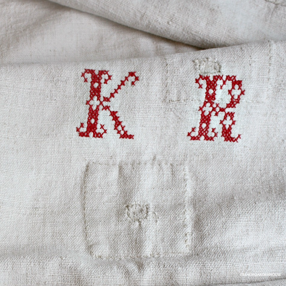 Antique Early French Homespun Linen Harvest Sack KR