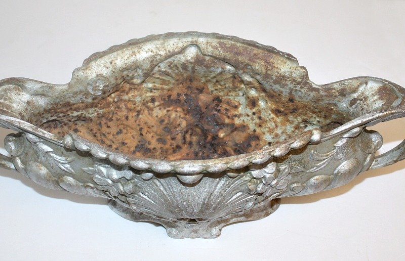 Antique French Rococo Revival Cast Iron Jardiniere Silver Medium