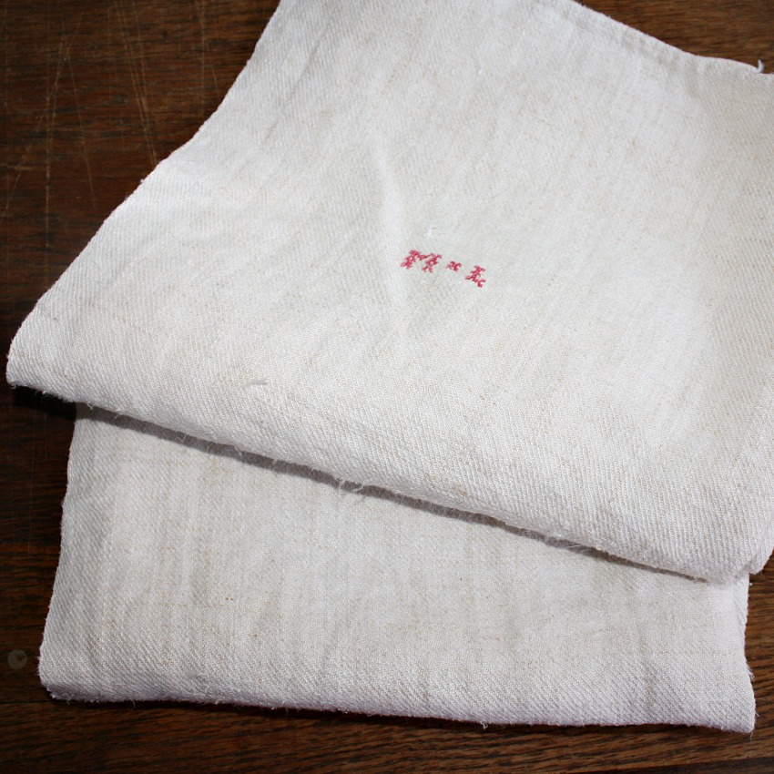 Antique French Country Hand Woven Natural Linen Towel M L
