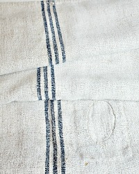 Antique French Hand Woven Linen Harvest Sack Blue Stripe