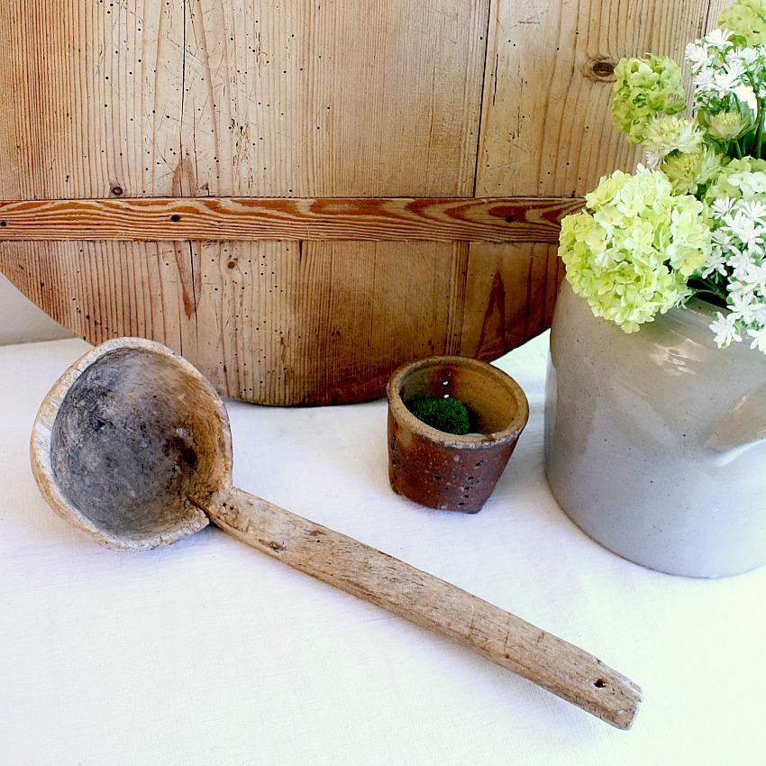 19th Century French Wooden Hand Made Soup Ladle