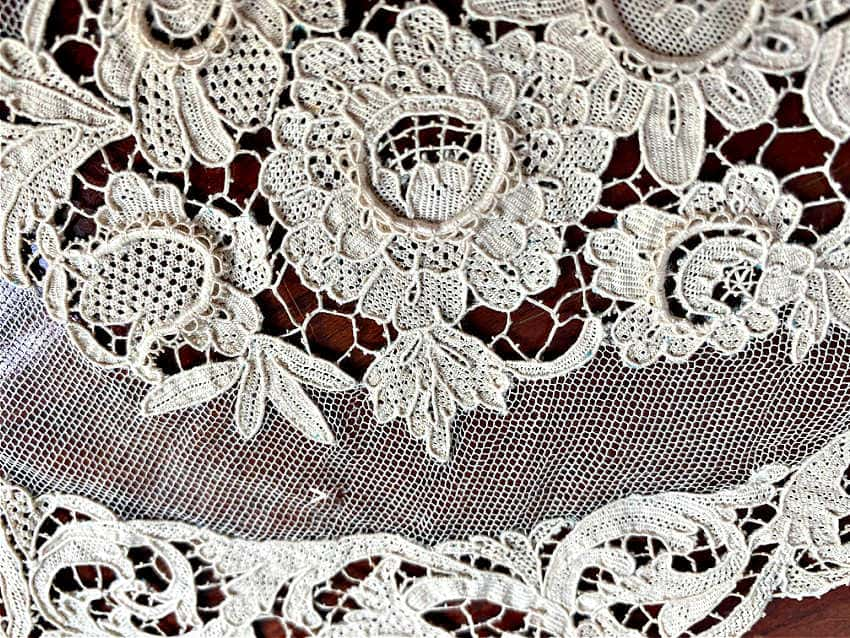 Antique Hand Made French Lace Tray Cover