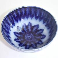 19th Century Flow Blue Feathered Serving Bowl