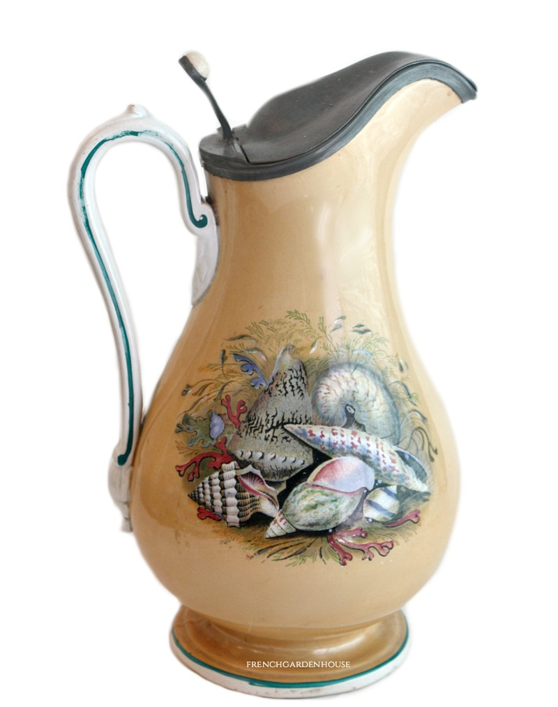 19th Century Prattware Seashell Ale Jug with Pewter Lid Large