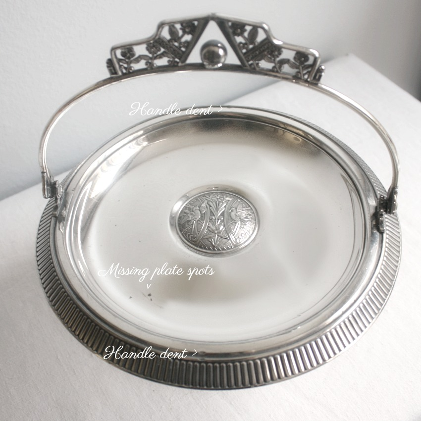 Antique Aesthetic Silver Plate Cake Basket Birds Pairpoint
