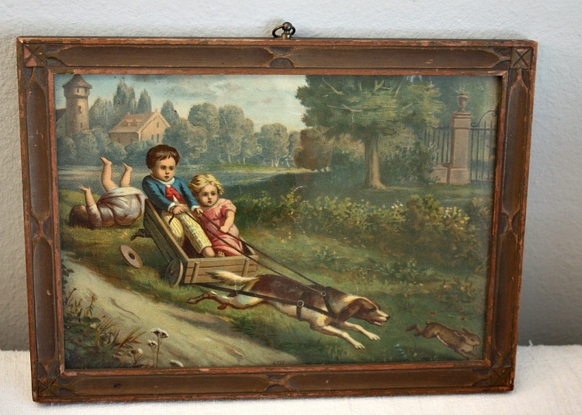 19th Century Framed Chromolithograph Print Children in Dog Cart