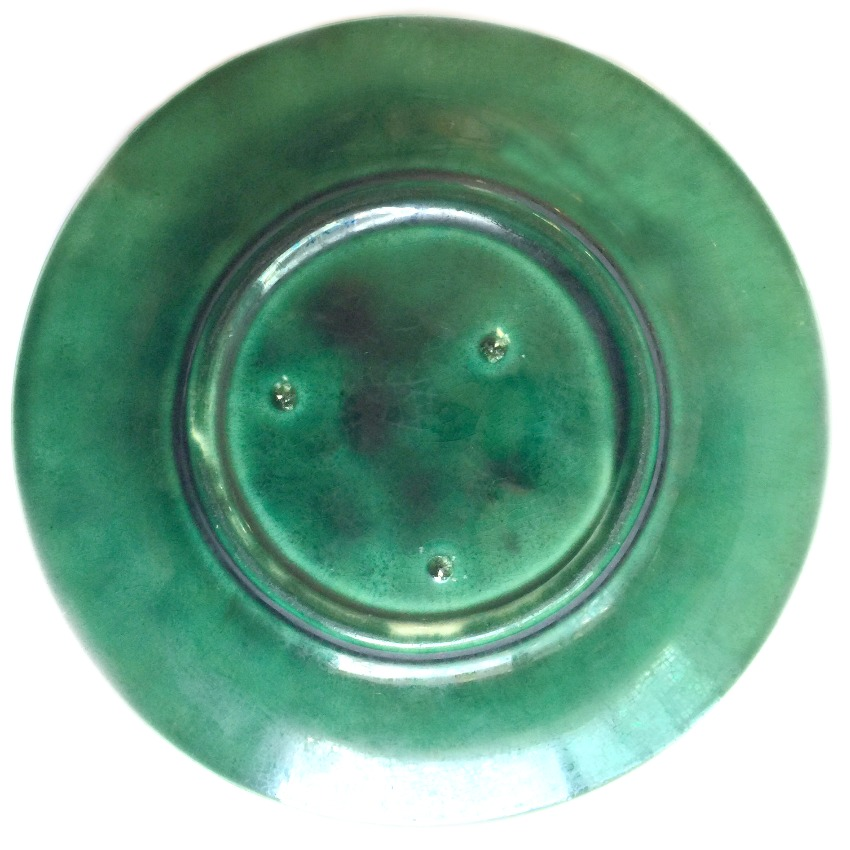 Antique 1800's Dark Green Leaf Majolica Plate