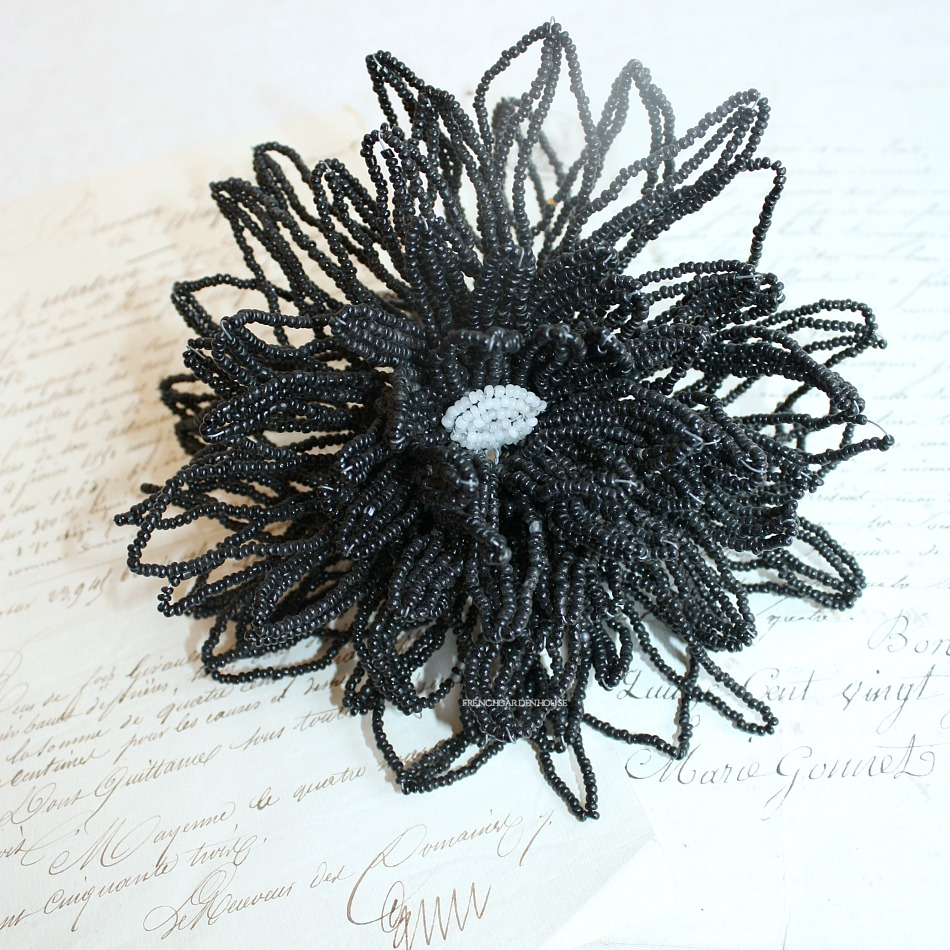 Antique French Hand Made Glass Beaded Mourning Flower Noir